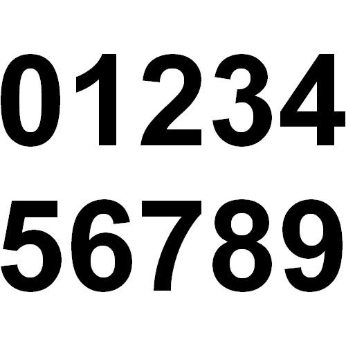 Numéro adhésif noir quad moto , Hauteur 14 centimètres, au