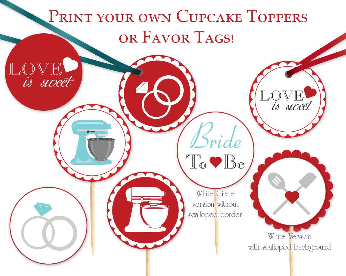 34cf755060 Kitchen themed Cupcake Toppers, Favor Tags or Stickers Instant ...