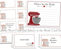 Editable Red Kitchen Labels, Tent Cards, and Bride Advice Cards ...