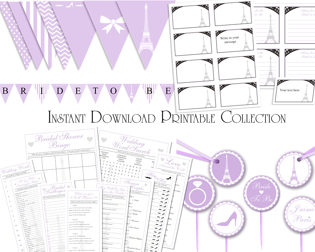 picture regarding Printable Bridal Shower Games identify Lavender French Paris Immediate Down load Assortment Printable Bridal Shower Video games, Labels, Cupcake Toppers Bunting Banners