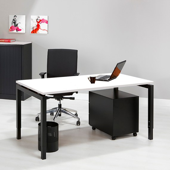SIMAD 4P Bureau Frame Zwart Blad Wit
