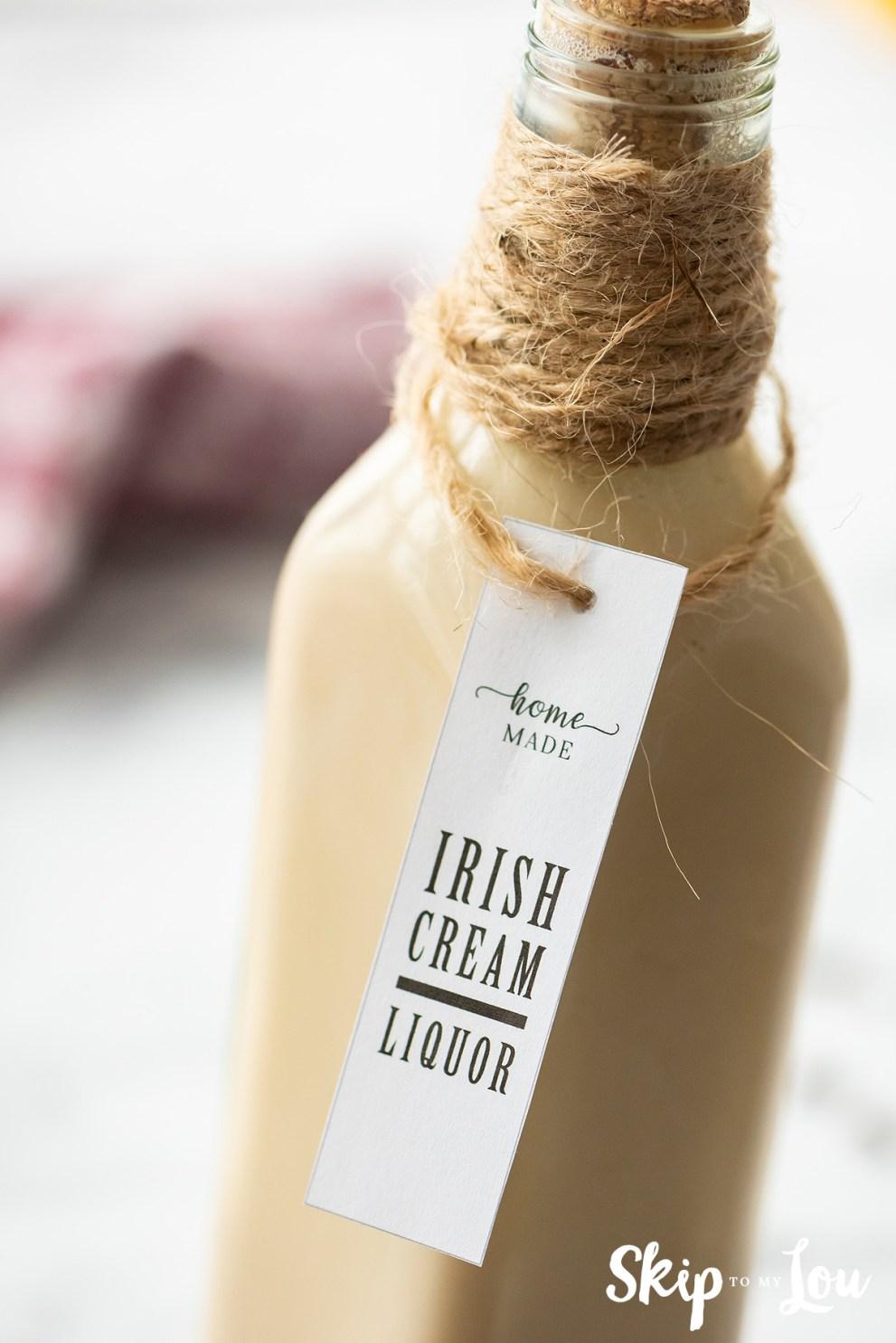 homemade Irish cream in bottle