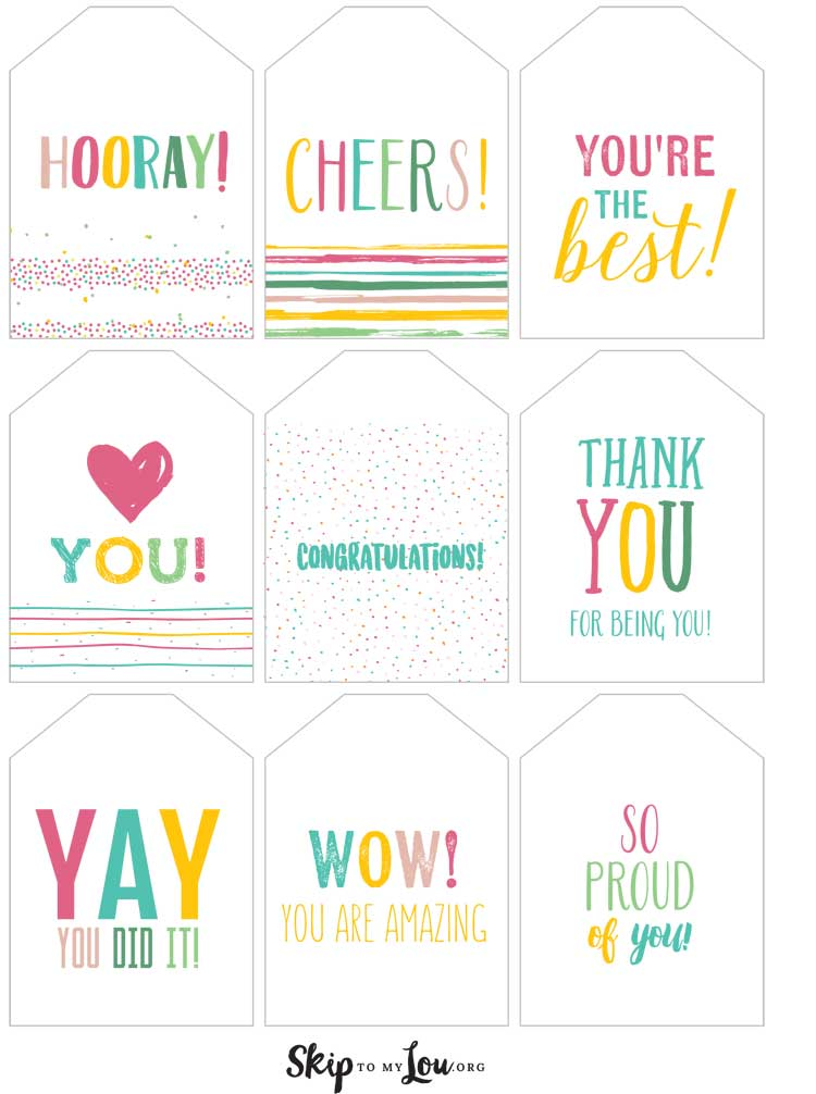 celebration gift tags spring colors
