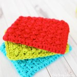 three crochet sponges