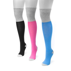 Women's 3 Pair Pack Color Block Over the Knee Socks