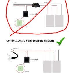 wiring should be in a parallel circuit and not daisy chained in series this diagram applies to all of our material both our low voltage and 120 vac line  [ 600 x 1600 Pixel ]