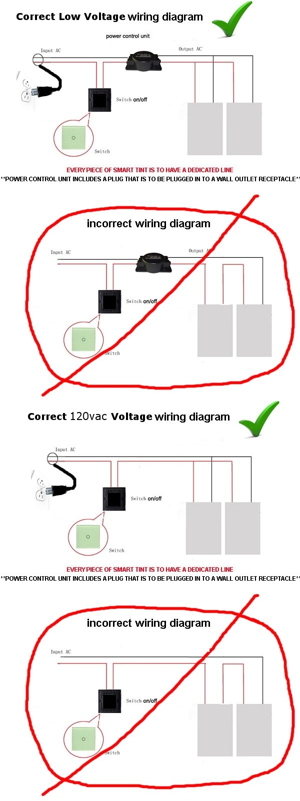 hight resolution of wiring should be in a parallel circuit and not daisy chained in series this diagram applies to all of our material both our low voltage and 120 vac line