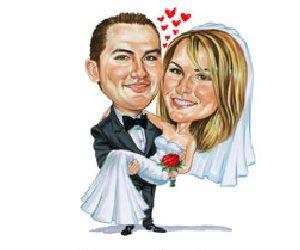 Karikatur vom Brautpaar  Onlineshop von spielehochzeitde