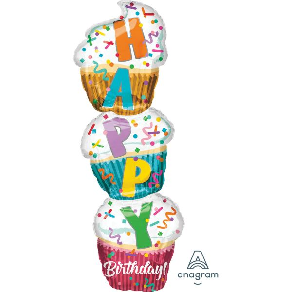 Supershape Stacked Cupcake Folienballon P35 verpackt 33cm x 104cm | Amscan