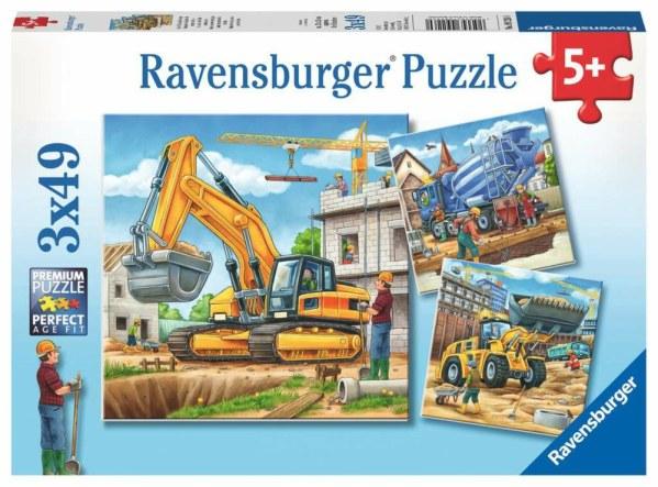 Große Baufahrzeuge 3x49p-3 X 49 Teile | Ravensburger Spielverlag