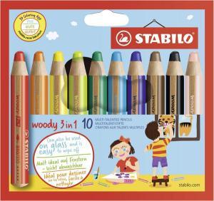STABILO woody 3 in 1 dick 10er Etui   Stabilo