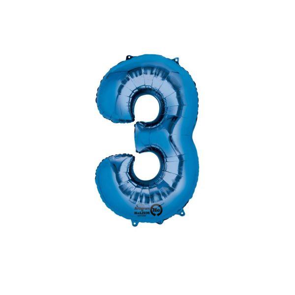 SuperShape Zahl 3 Blau Folienballon L34 verpackt 53cm x 88cm | Amscan