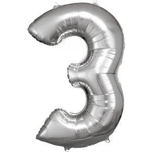Grosse Zahl 3 Silber Folienballon N34 verpackt 53 cm x 88 cm | Amscan
