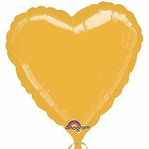 Standard Gold Metallic Folienballon Herz, S15, verpackt, 43cm   Amscan