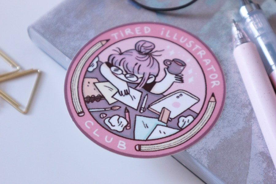 Tired Illustrator Club sticker - shop.srtam.com