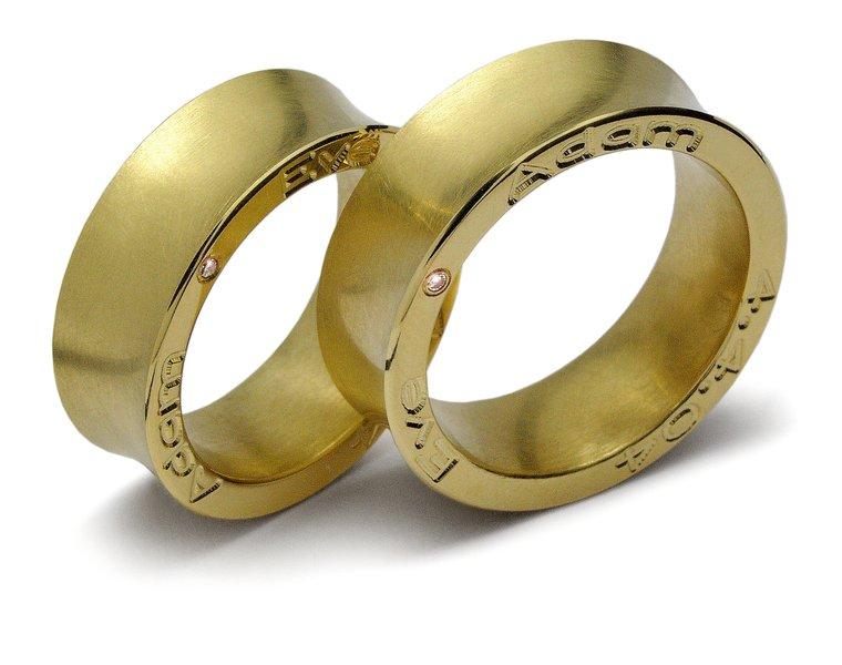 Auergewhnliche Eheringe aus Gelbgold  Trauringkaufde
