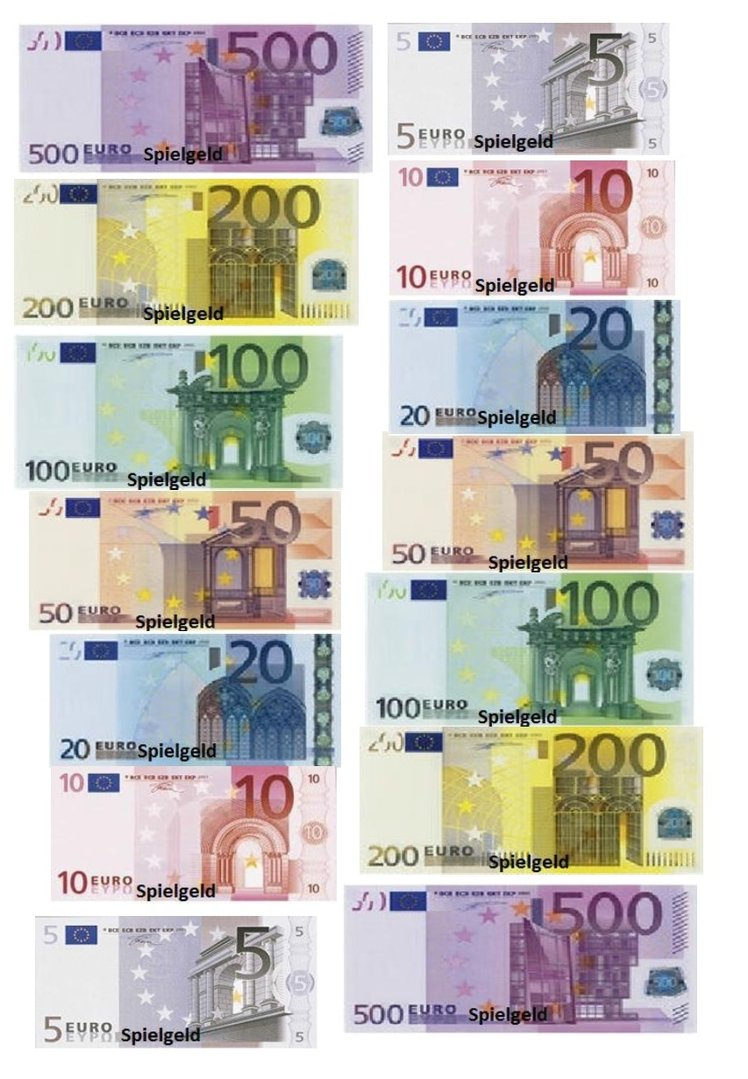 Spielgeld zum Ausdrucken - Kostenlose Vorlage als PDF