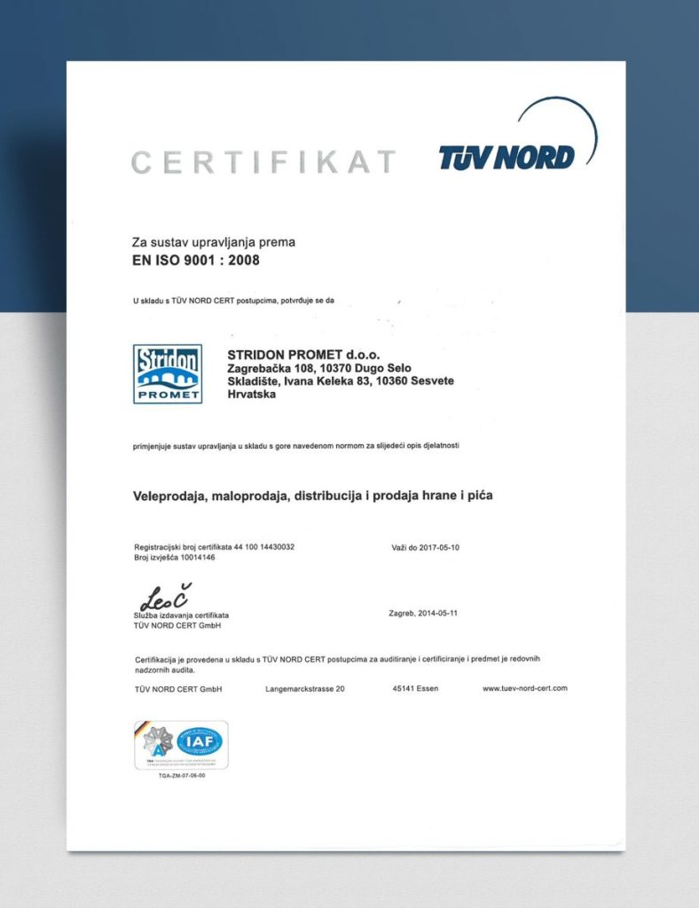Certifikat TUV NORD - EN ISO 9001: 2008