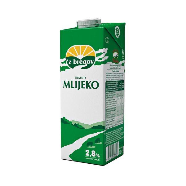 Mlijeko trajno 'z bregov 2,8% m.m. 1L, Vindija