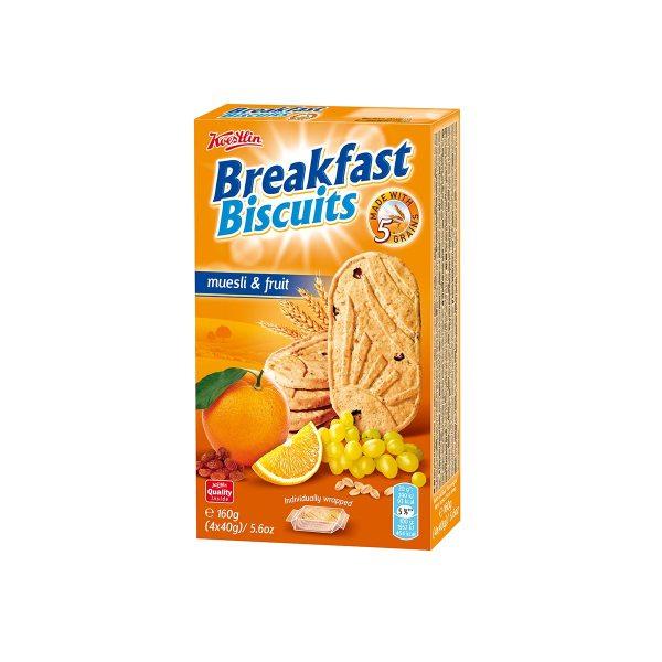 Breakfast biscuits muesli & fruit 160g, Koestlin