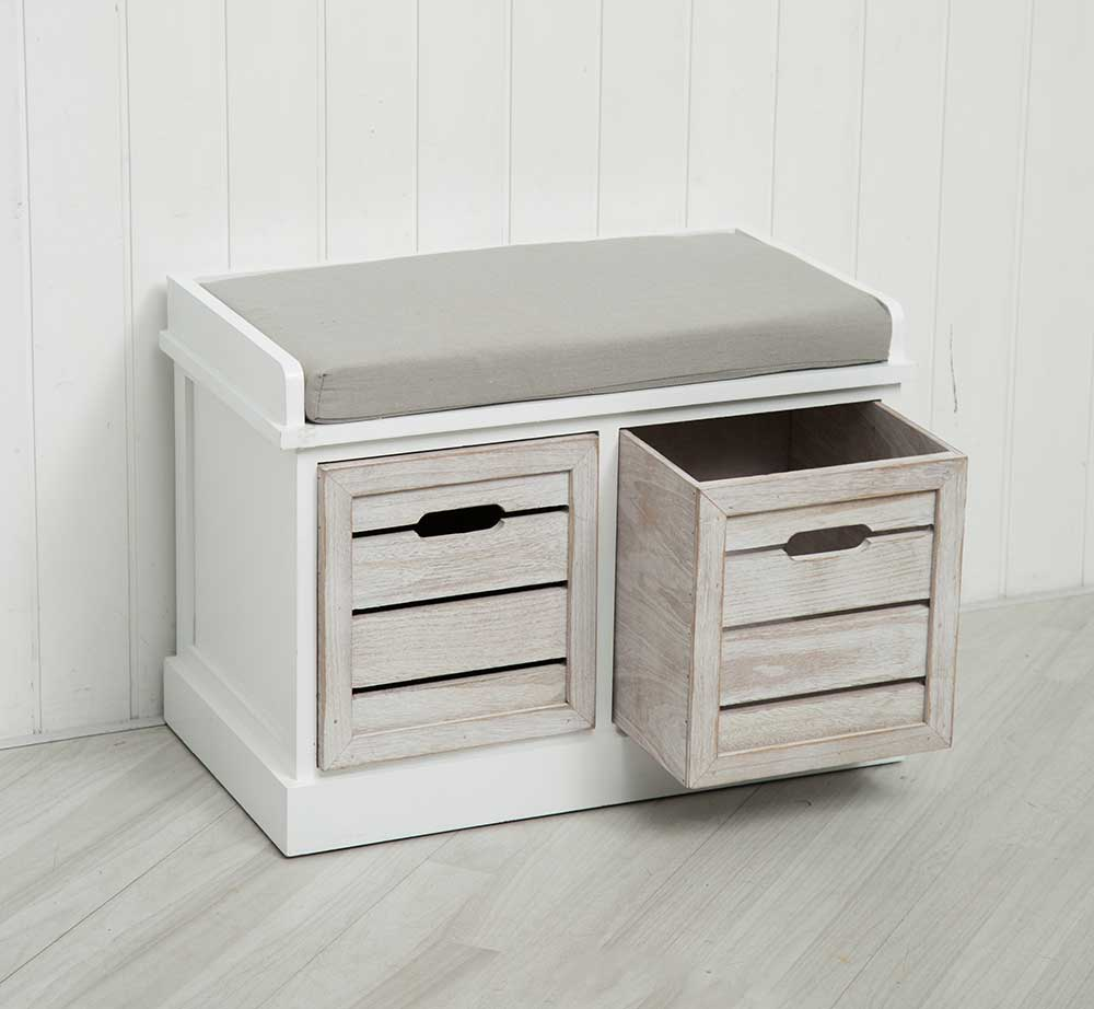 White Two Drawer Crate Bench Seating Storage Bedroom