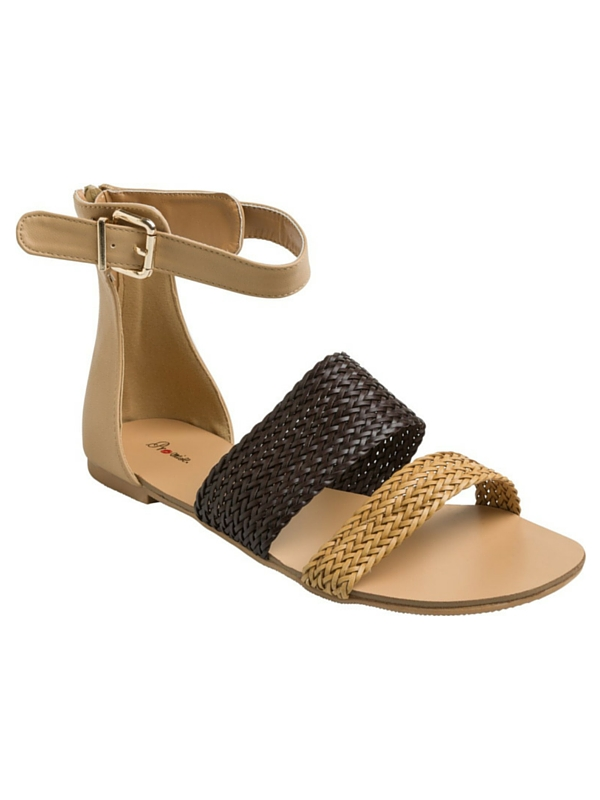 ADORE COLORBLOCKED FLAT SANDAL BLK- TAN - SIZE 7 (1)