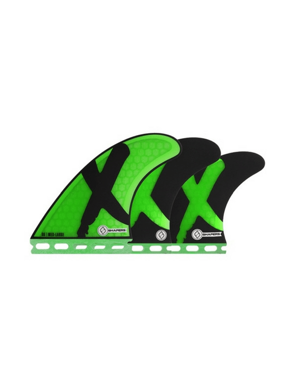 SHAPERS FINS FUTURE CORE LITE S6 GREEN X 5 FIN SET