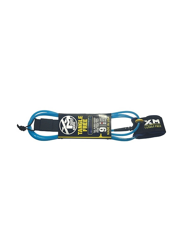 XM TANGLE FREE REGULAR DOUBLE SWIVEL 9' BLUE SURF LEASH