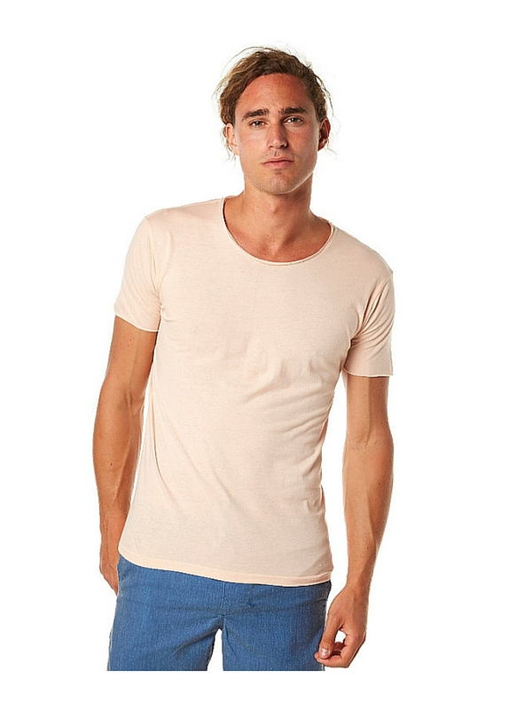 SILENT THEORY OVER CROTCH MENS TEE - PASTEL PEACH