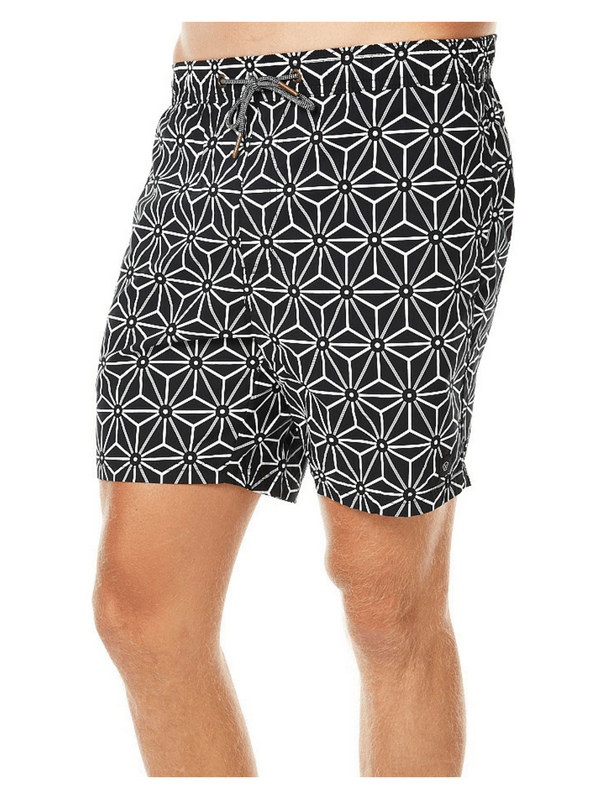 ZANEROBE LAGUNA SWIM MENS BEACH SHORT - BLACK WHITE GEO