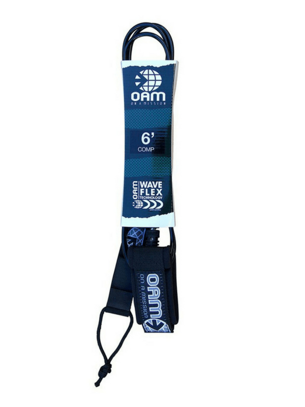 ON A MISSION 6' COMP SURF LEASH - BLACK