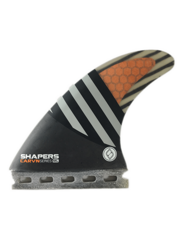 SHAPERS FINS FUTURE CARBON HYBRID CARV'N SERIES MEDIUM LARGE 6-FIN SET