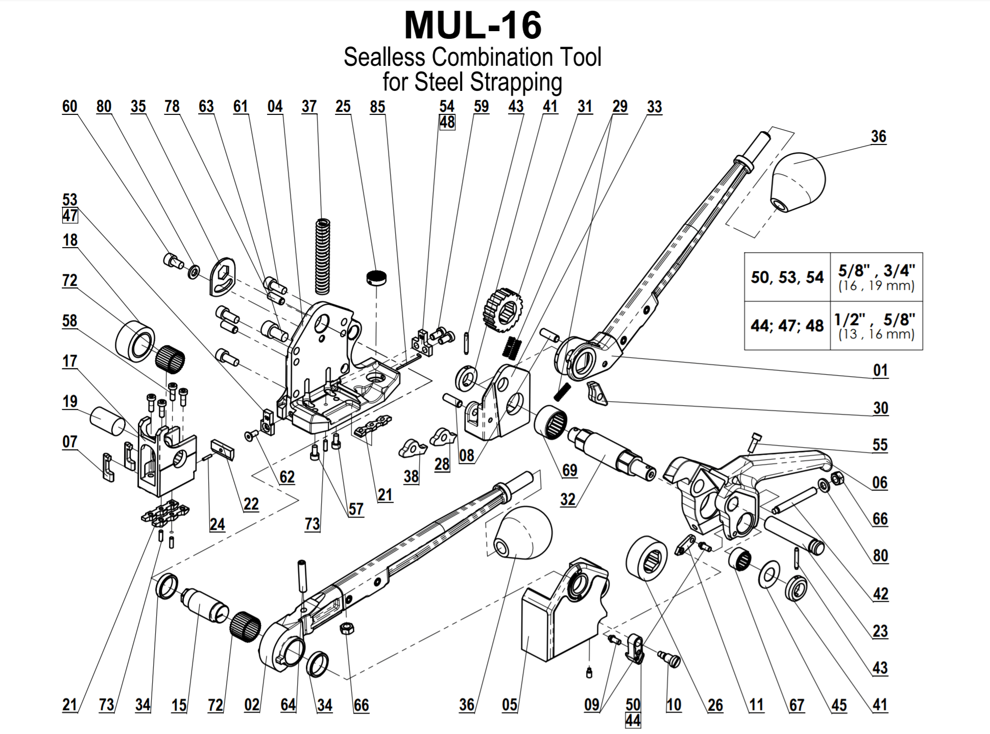 Parts for MUL-16 Heavy Duty Sealess Combination Tool for