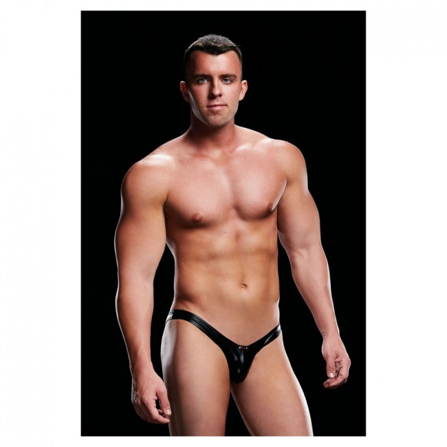 Envy Wet Look Open Back Low Rise Brief Black