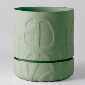 Abstract Relief Plant Pot Thick Olive Green