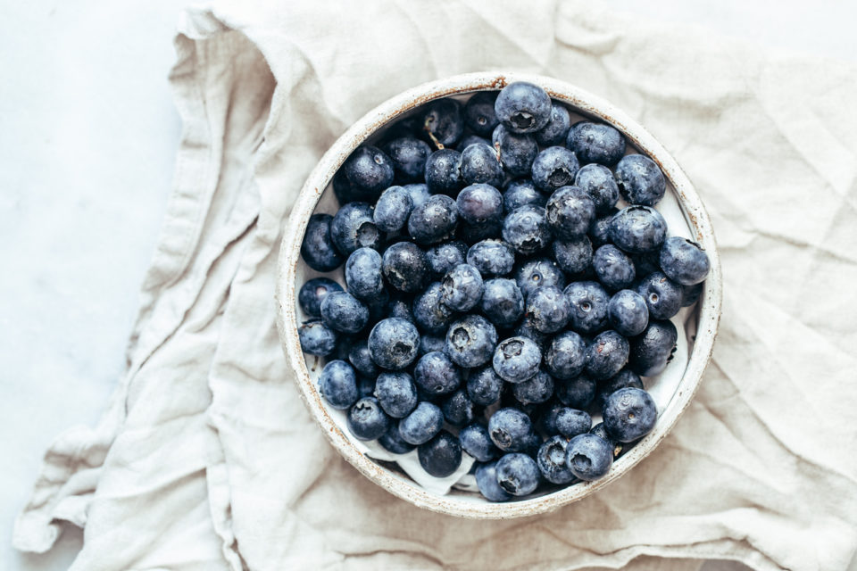 Blueberry bowl on white background
