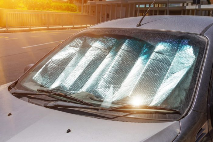 dashcover in vehicle with sun shining