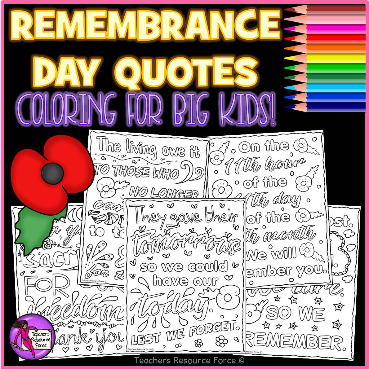 Remembrance Memorial Day Quote Colouring Pages For Big