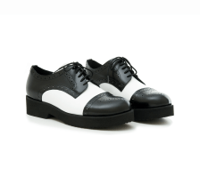 Δερμάτινα Flatforms Art 47 Black + White