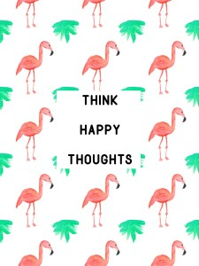 flamingo tropical journal: think happy thoughts