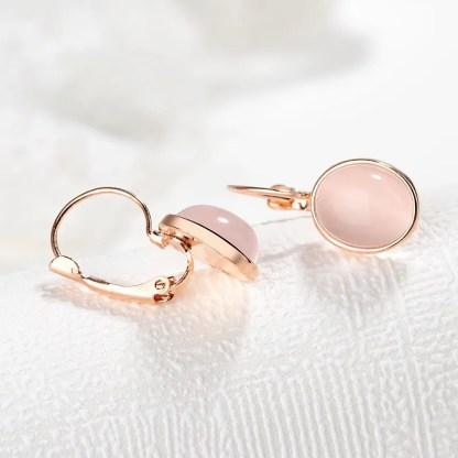 hõbekõrvarõngad roosast kvartsist kõrvarõngad kassisilma kivi