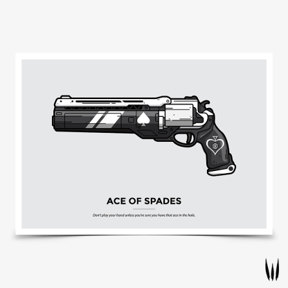 Destiny 2 Ace of Spades hand cannon gaming poster designed by WildeThang