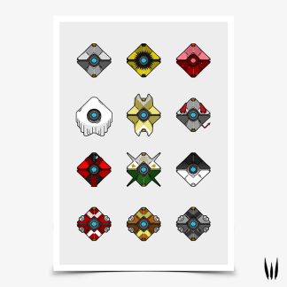 Destiny Ghost Shell Collection gaming poster by WildeThang