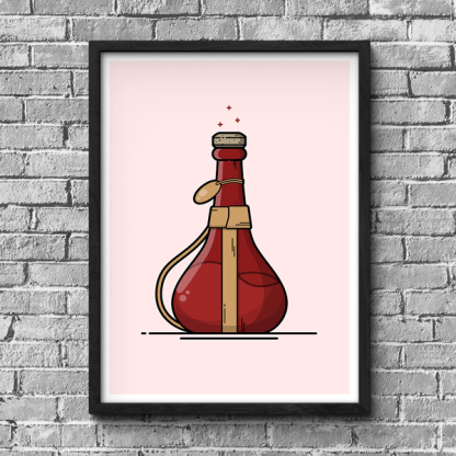 Skyrim Ultimate Healing potion gaming poster by WildeThang
