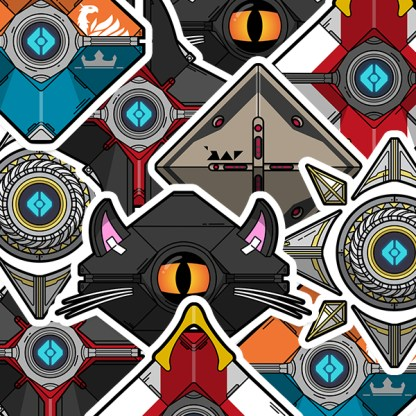 Destiny 2 vinyl die-cut gaming stickers designed by WildeThang
