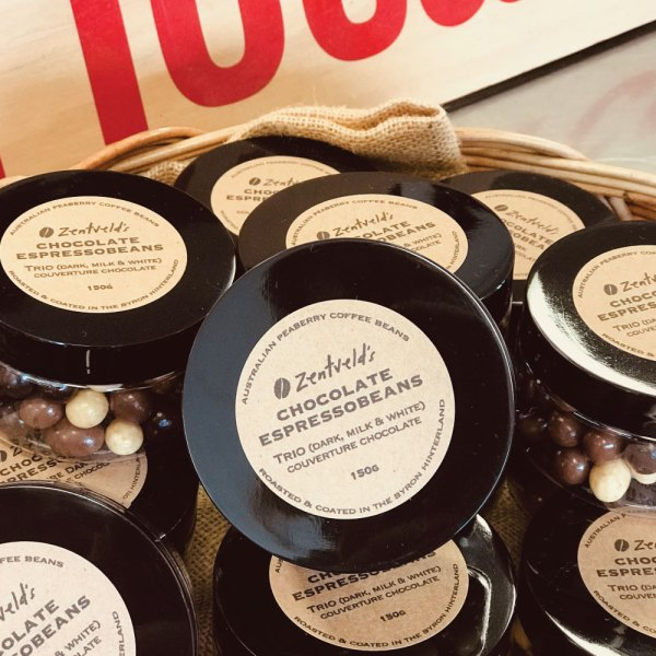 button to buy 150g trio chocolate espressobeans