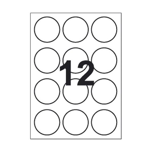 Runde etiketter 12 stk pr. A4 ark, Ø60mm, hvide, 100 ark
