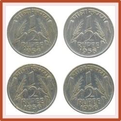 1956 1/2 Half Rupee Corn Sheaf Nickel Coin Calcutta Mint