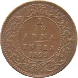 1899 1/12 One Twelve Anna Victoria Empress Calcutta Mint