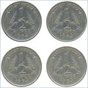 1954 1/2 Half Rupee Corn Sheaf Nickel Coin Calcutta Mint